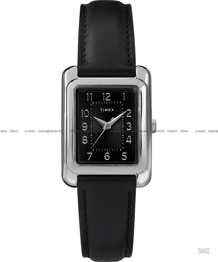 TIMEX TW2R89700 (W) Meriden Rectangle leather strap black