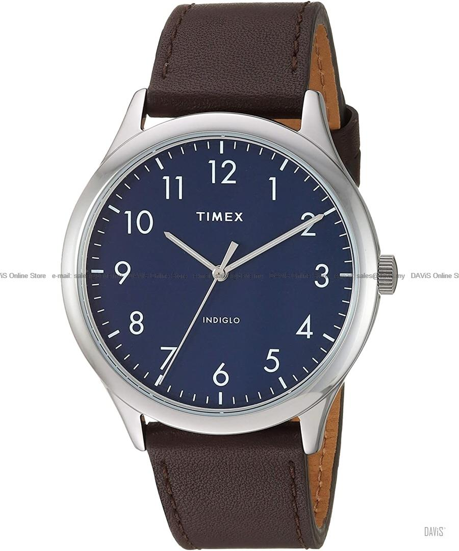 TIMEX TW2T72000 (M) Modern Easy Reader 40mm Leather Strap Blue Brown