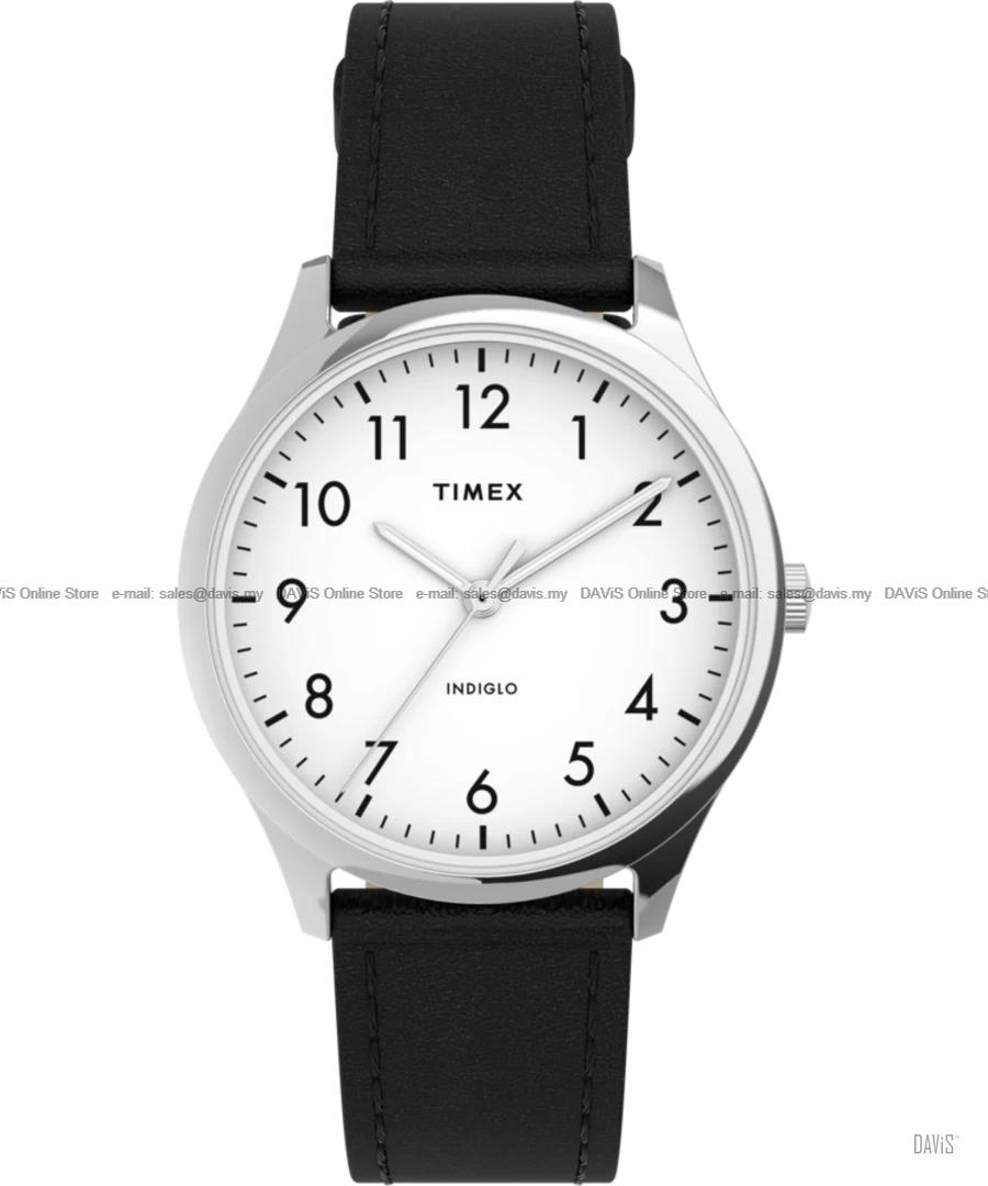 TIMEX TW2T72100 (W) Modern Easy Reader 32mm Leather Strap White Black