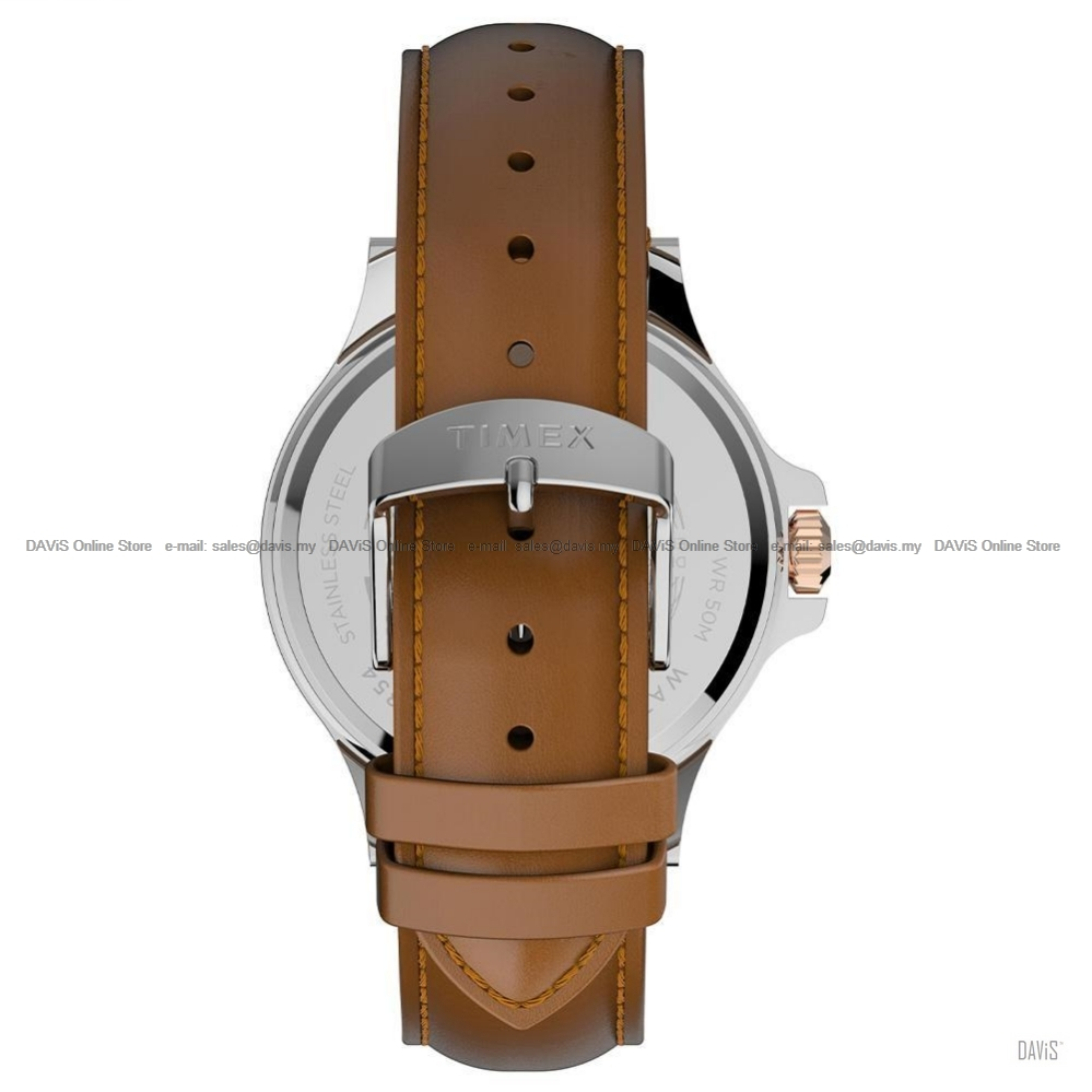 TIMEX TW2U12800 (M) Harborside Multifunction 43mm Leather Strap Brown