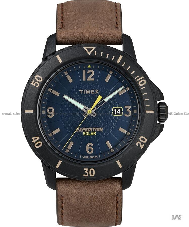 TIMEX TW4B14600 (M) Expedition Gallatin Solar Leather Strap Blue Brown