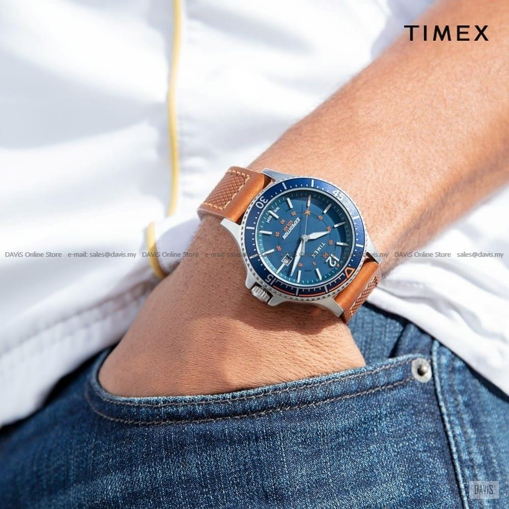TIMEX TW4B15000 (M) Expedition Ranger Solar Leather Strap Blue Tan