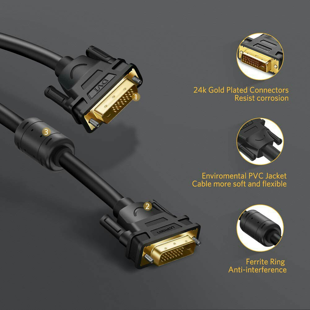 TINYTECH GOLD PLATED DVI-D 24+1 PIN DUAL LINK 144MHZ M/M CABLE 1.5 M