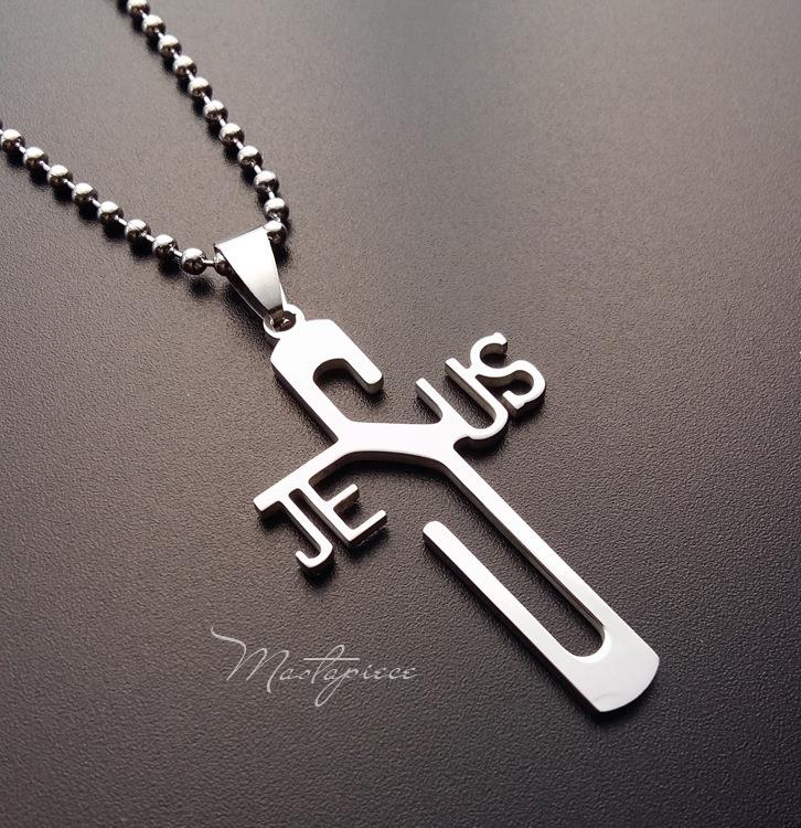 Titanium Steel cross shape Jesus pendant necklace