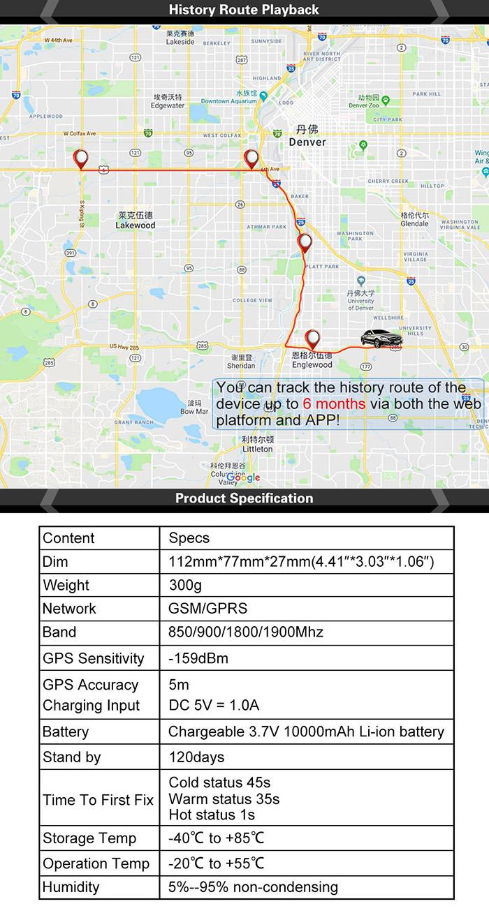TKSTAR GPS Tracker Locator for Car Strong Magnet 90 days Standby