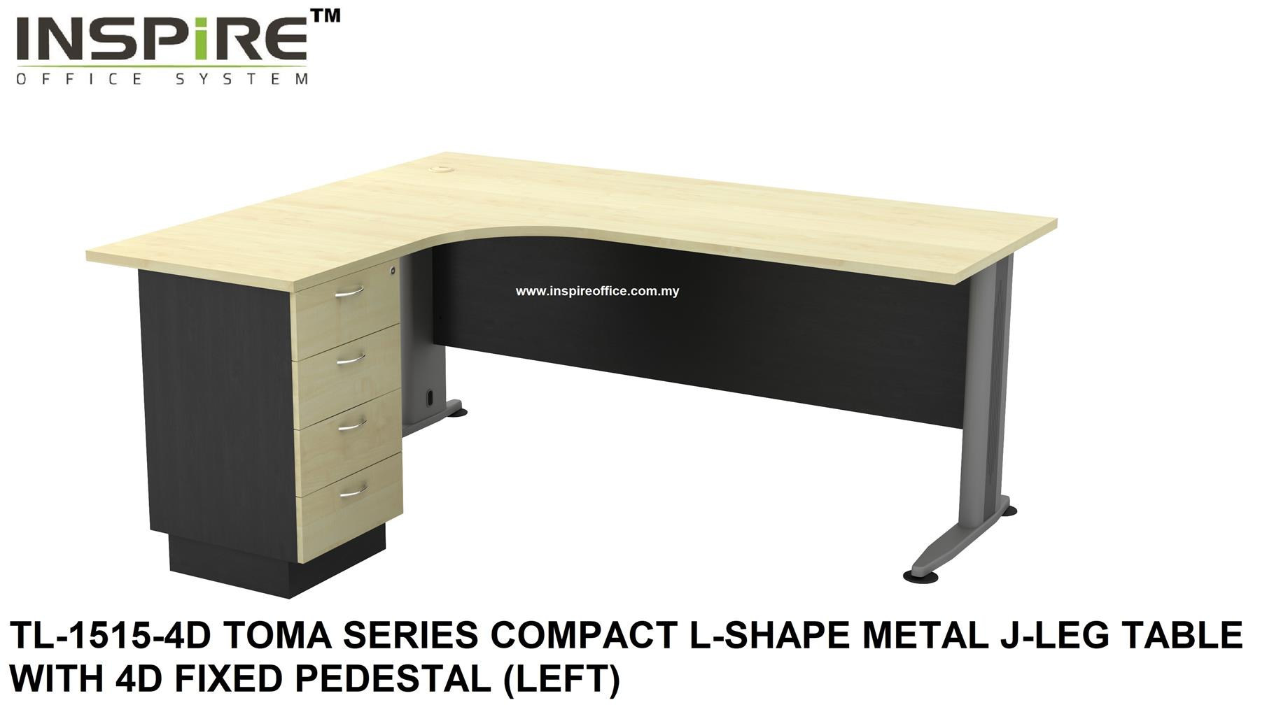 TL-1515-4D TOMA SERIES COMPACT L-SHAPE METAL J-LEG TABLE WITH 4D FIXED