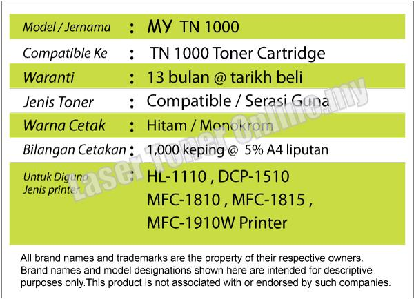 MY TN1000/TN 1000 Compatible-Brother HL1110/DCP1510/DCP1610w/MFC1810