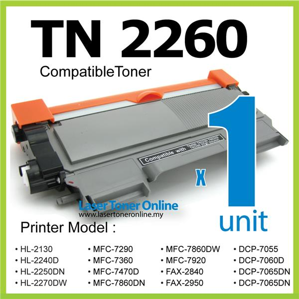TN2260 Compatible Brother HL2130 HL2132 HL2240D HL2250DN HL2270dw