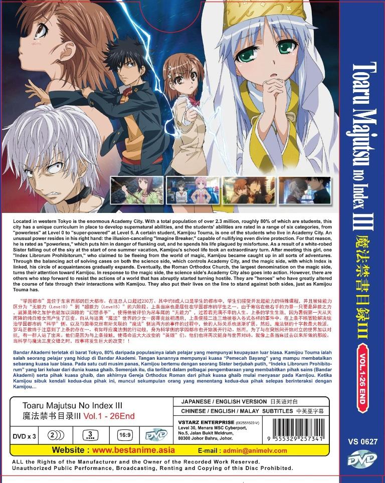 Toaru Majutsu No Index 3 Vol 1-26 End Anime DVD