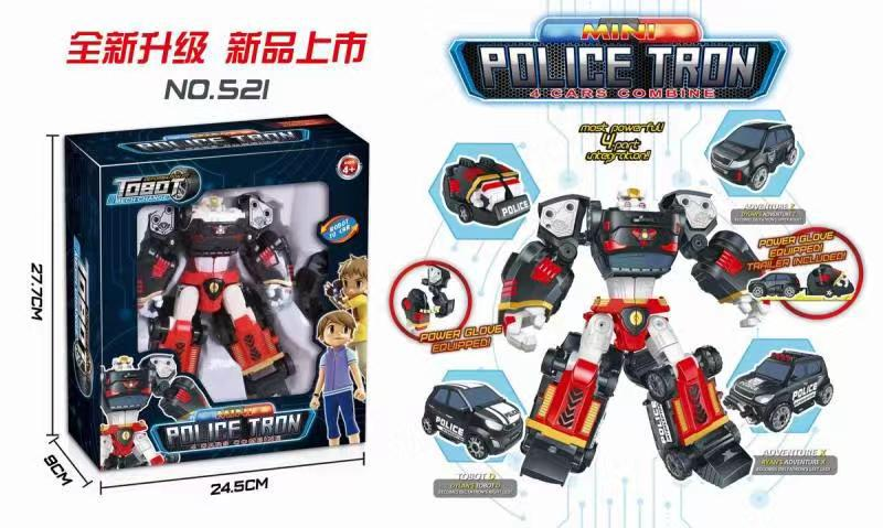 Tobot Mini Police Tron 4 Cars Combine D X Z Transforming Robot 4 in 1