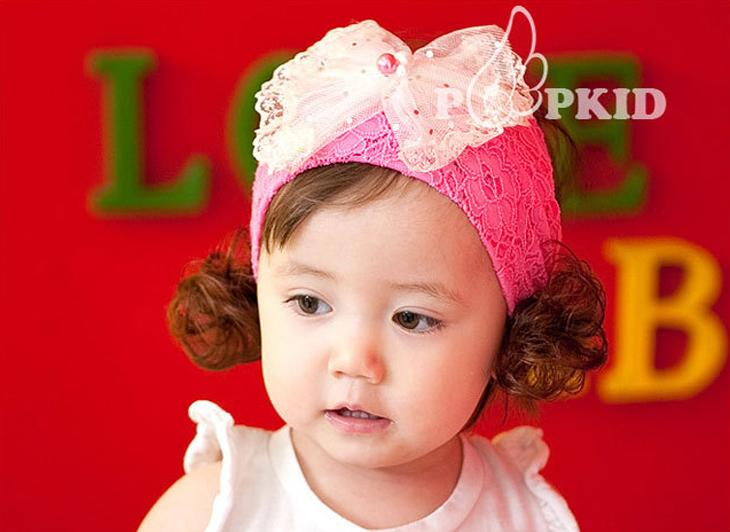 Toddler Baby Pearl Bow Wig Headband Hairband