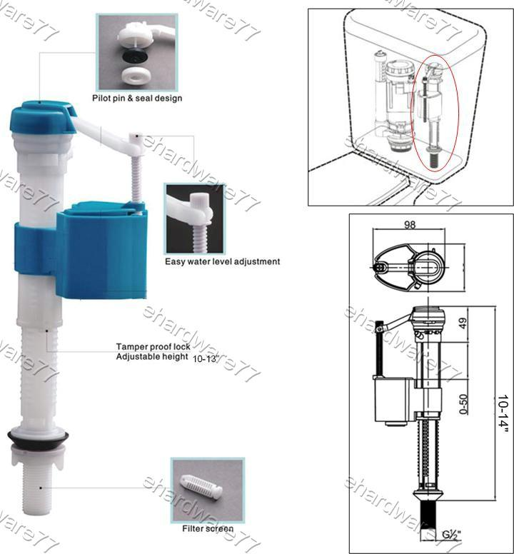 Toilet Cistern Adjustable Bottom Entry Fill Valve J09