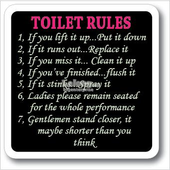 TOILET RULES ACRYLIC SIGN 110x110mm