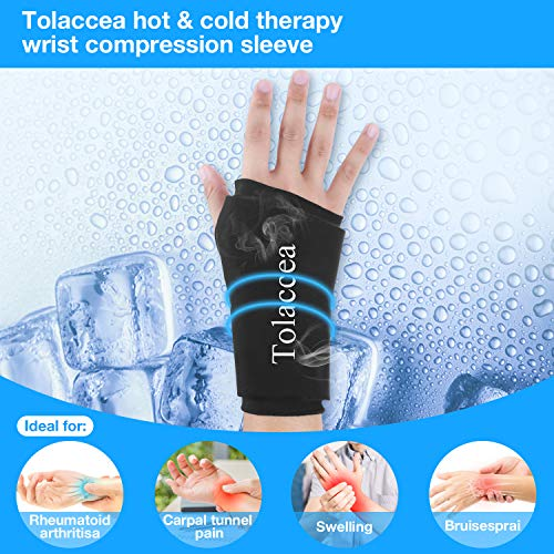 Tolaccea Wrist Ice Pack Wrap Wrist Ice Compression Sleeve Hot  & Cold Therapy