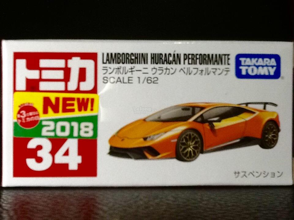 Tomica No. 34-10: Lamborghini Huracan (First Regular Color)