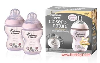 Tommee Tippee Closer To Nature 9oz / 260ml PINK (Twin Pack)
