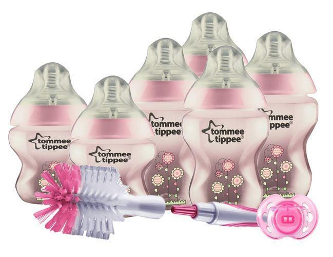 Tommee Tippee Closer To Nature Decorated Bottle Starter Kit Pink