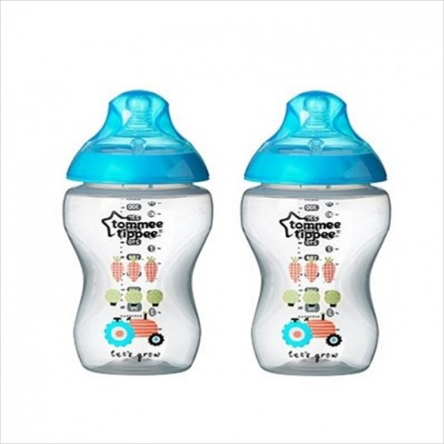 Tommee Tippee Closer To Nature Tinted Bottle 260ml/9oz (Twin Pk) *Blue Tractor