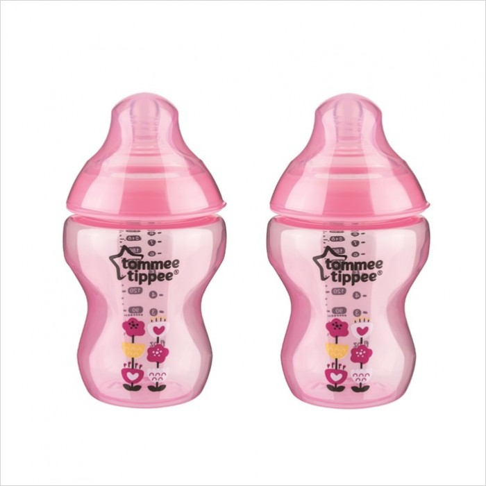 Tommee Tippee Closer To Nature Tinted Bottle 260ml/9oz (Twin Pk) *Pink Flower*