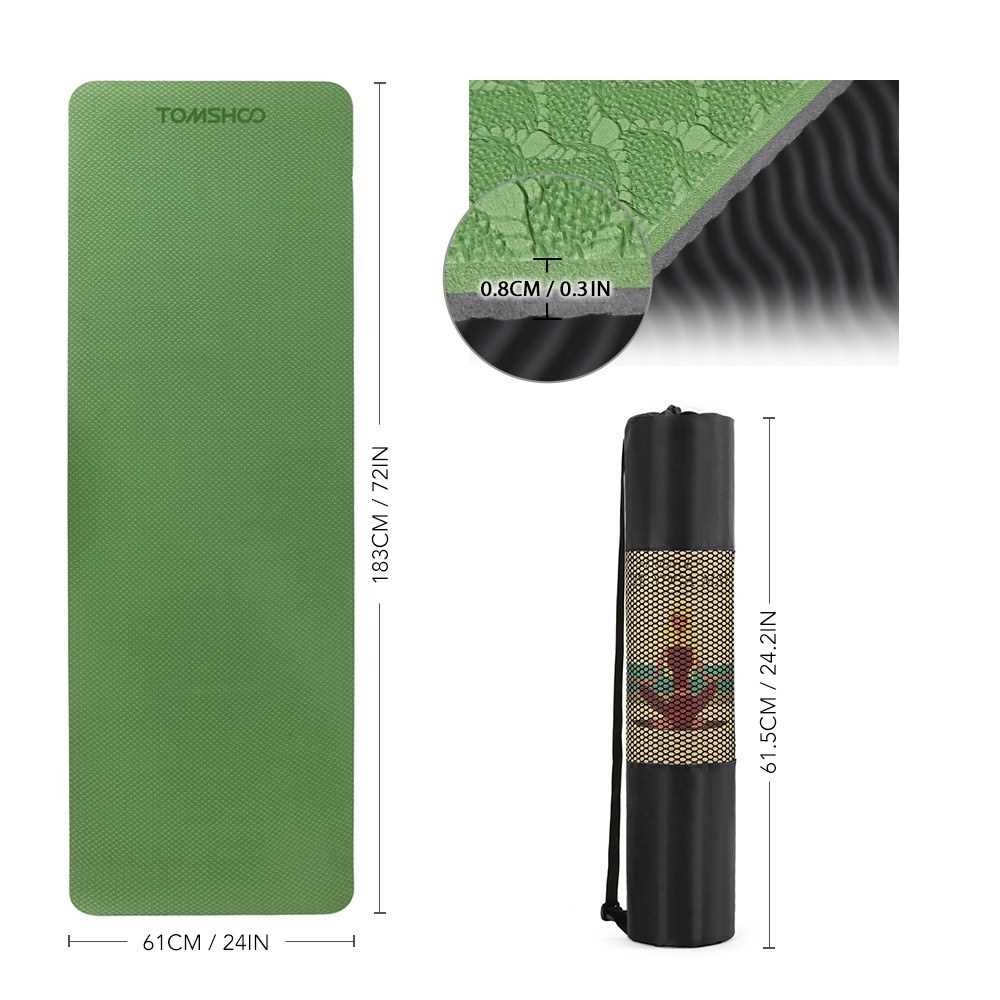 TOMSHOO 72.05\u00d724.01in Portable Double Dual-colored Yoga Mat
