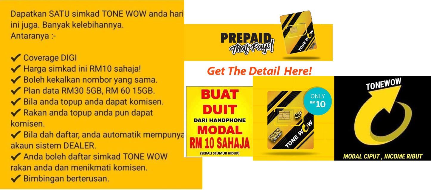 TONE WOW sim card ( Save and earn )
