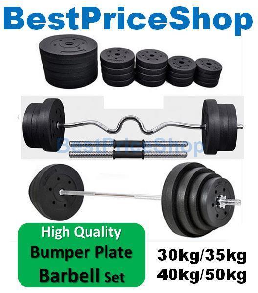 Top Grade Bumper Barbell Dumbbell Weightlifting Bar Gym Set 22~50kg