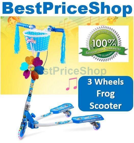 Top Grade Height Adjustable 3 Wheels Iron Frog Scooter Kids Toy 110kg
