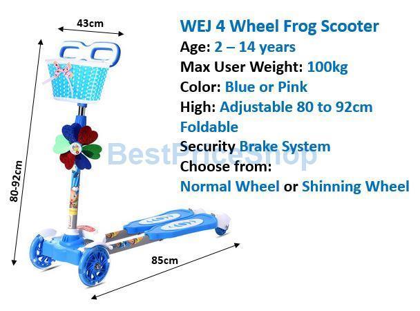 Top Grade Height Adjustable 4 Wheels Frog Scooter Kids Skate Toy 100kg