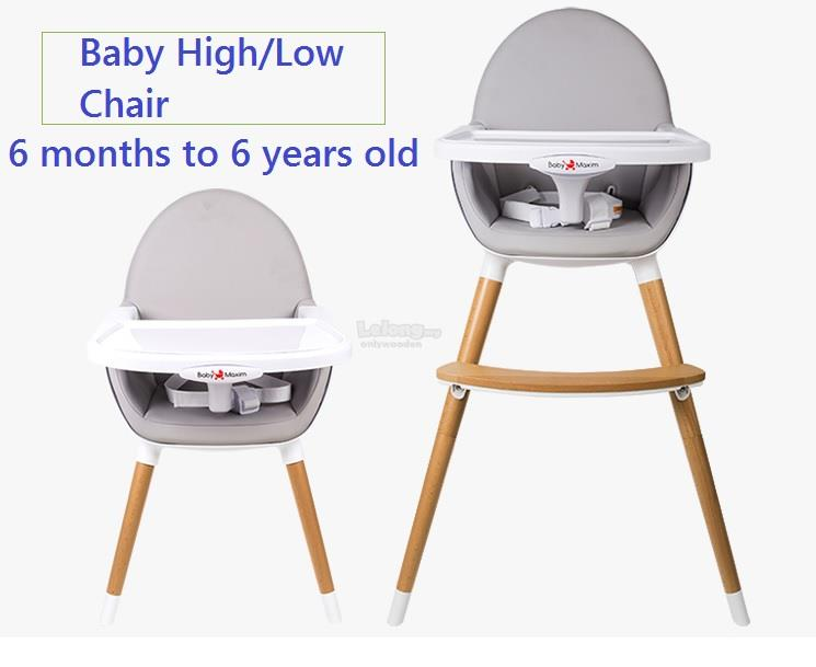 top grade wooden baby high low chair, (end 6/5/2018 9:15 am)