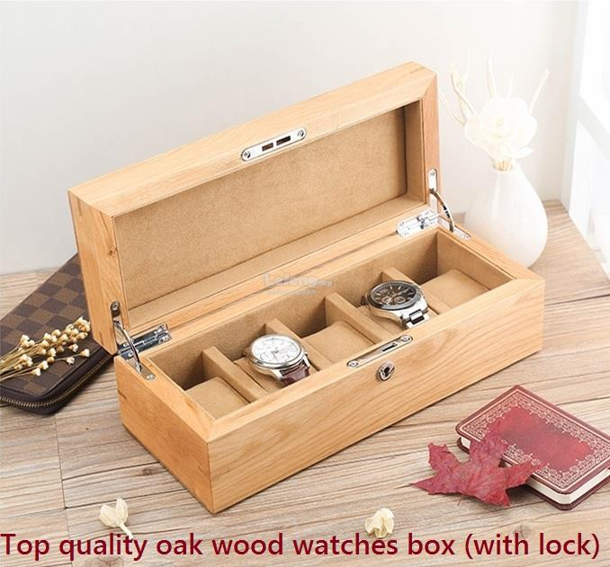Top Quality Oak Wooden Watch Box Watches Collection Boxes With Lock