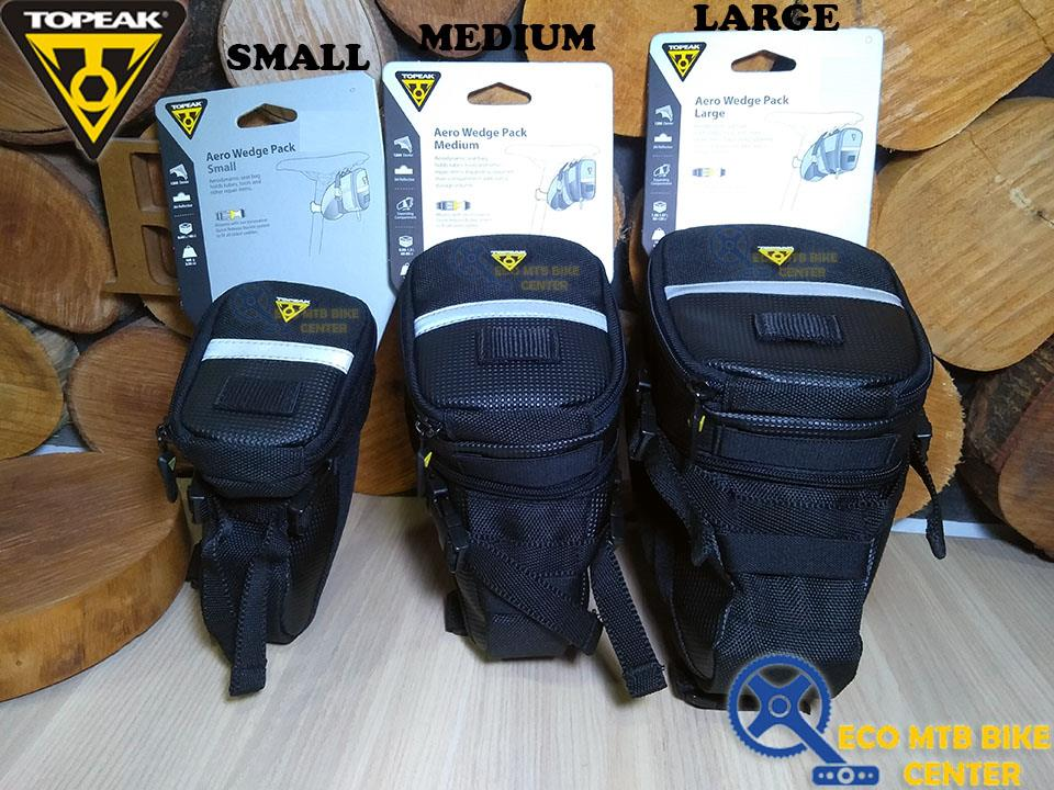 New Topeak Aero Wedge Seat Bag Strap//On Medium Black