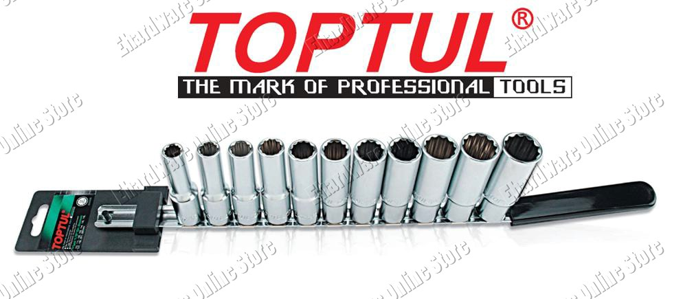 Toptul 11Pcs 1/2'DR 12PT Deep Socket Rail Set 10-22mm (GAAQ1105)