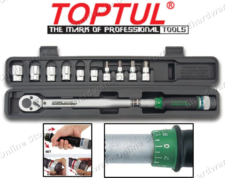 TOPTUL 11PCS 1/2' DR TORQUE WRENCH SET 40-210NM  (GAAI1102)