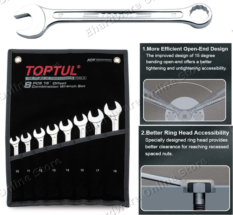 TOPTUL 14PCS SUPER TORQUE COMBINATION WRENCH SET 8-24MM (GPAW1402)