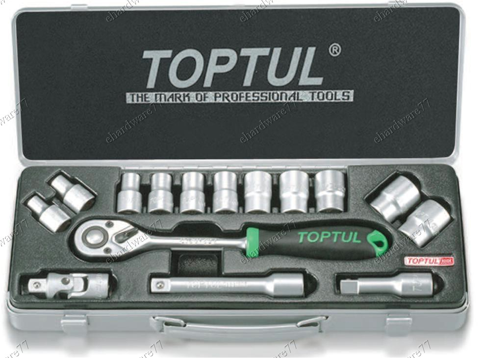 TOPTUL 15Pcs 1/2 DR Socket Set (Metal Case) (GCAD1501)