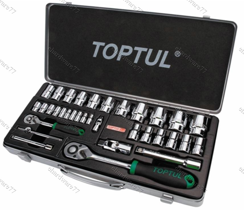 TOPTUL 34PCS 1/4' & 1/2' DR. Socket Set (Metal Case) (GCAD3402)
