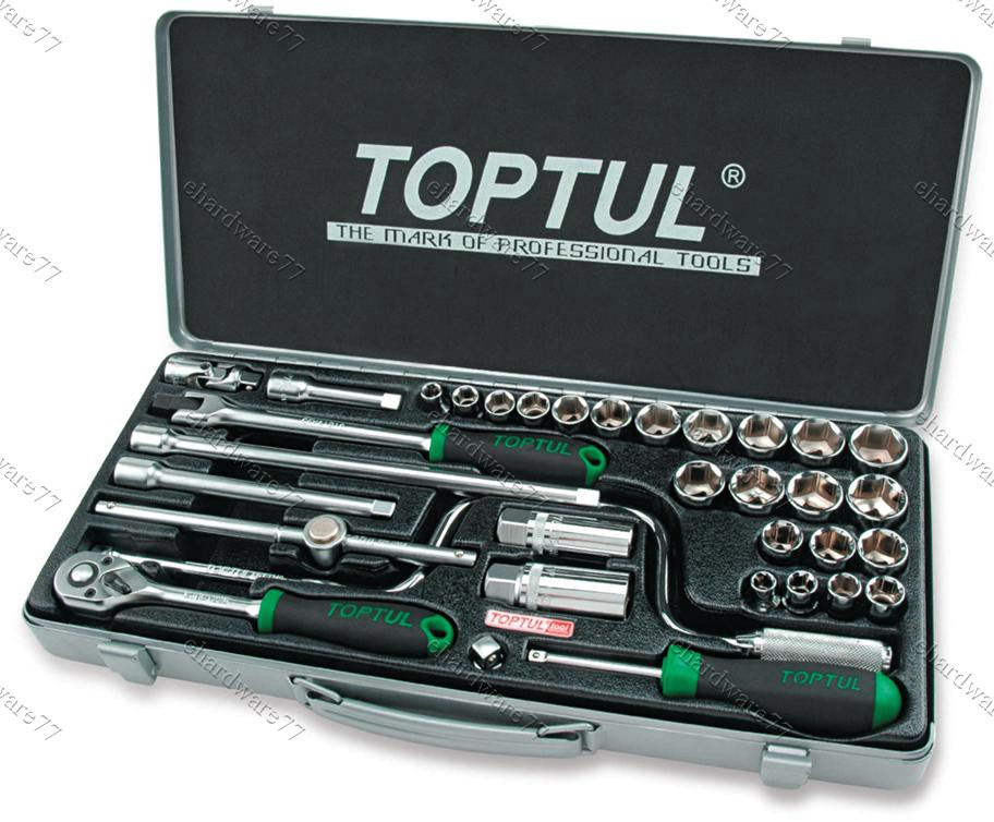 TOPTUL 34PCS 3/8'DR METRIC SAE SOCKET SET (METAL CASE) (GCAD3403)