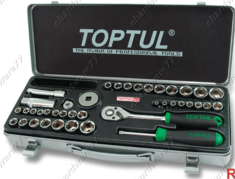 TOPTUL 40PCS 1/4' & 3/8' DR SOCKET SET (METAL CASE) (GCAD4004)