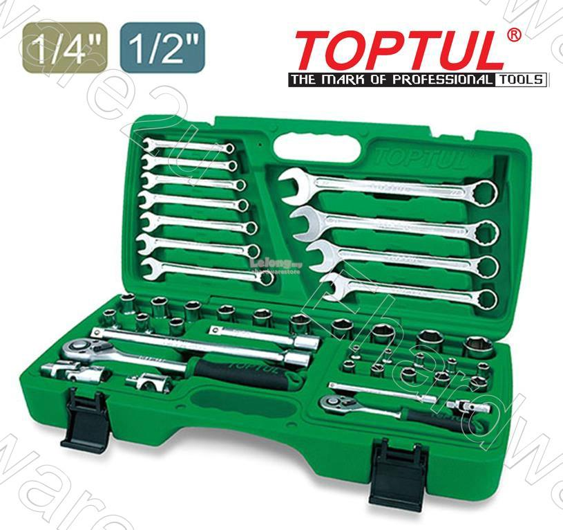 TOPTUL 42PCS 1/2 & 1/4 DR SOCKET WRENCH SET (GAAI4201)