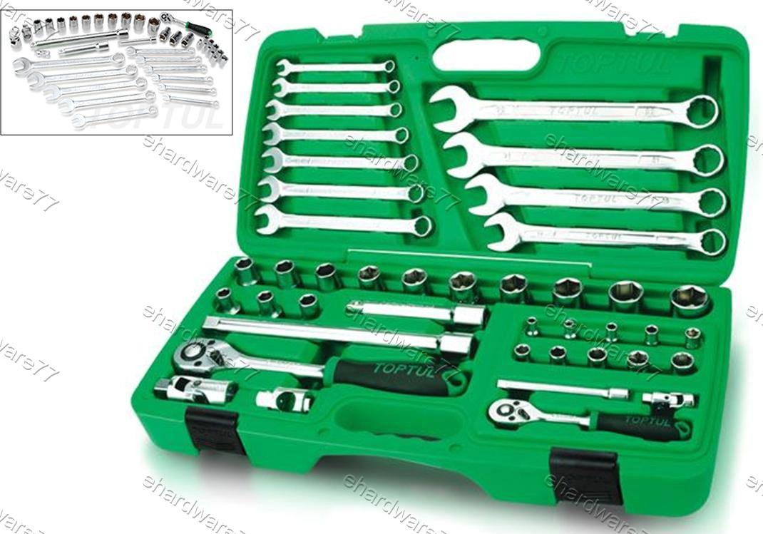 toptul 42pcs 12 u0026 14 dr socket wrench set gaai4201