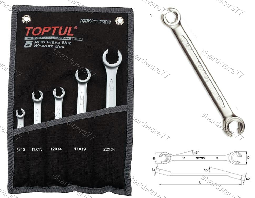 TOPTUL 5PCS FLARE NUT WRENCH SET (GPAQ0502)