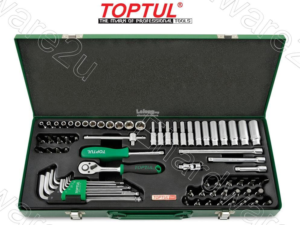 "Toptul 72Pcs 1/4""DR 6Pt Socket & Hey Key Wrench Set (GCAD7202)"