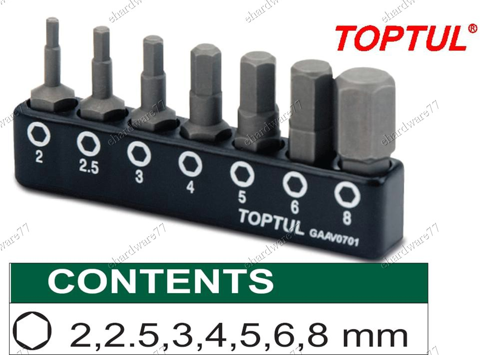 TOPTUL 7PCS 1/4in HEX SHANK HEXAGON BIT SET (GAAV0701)