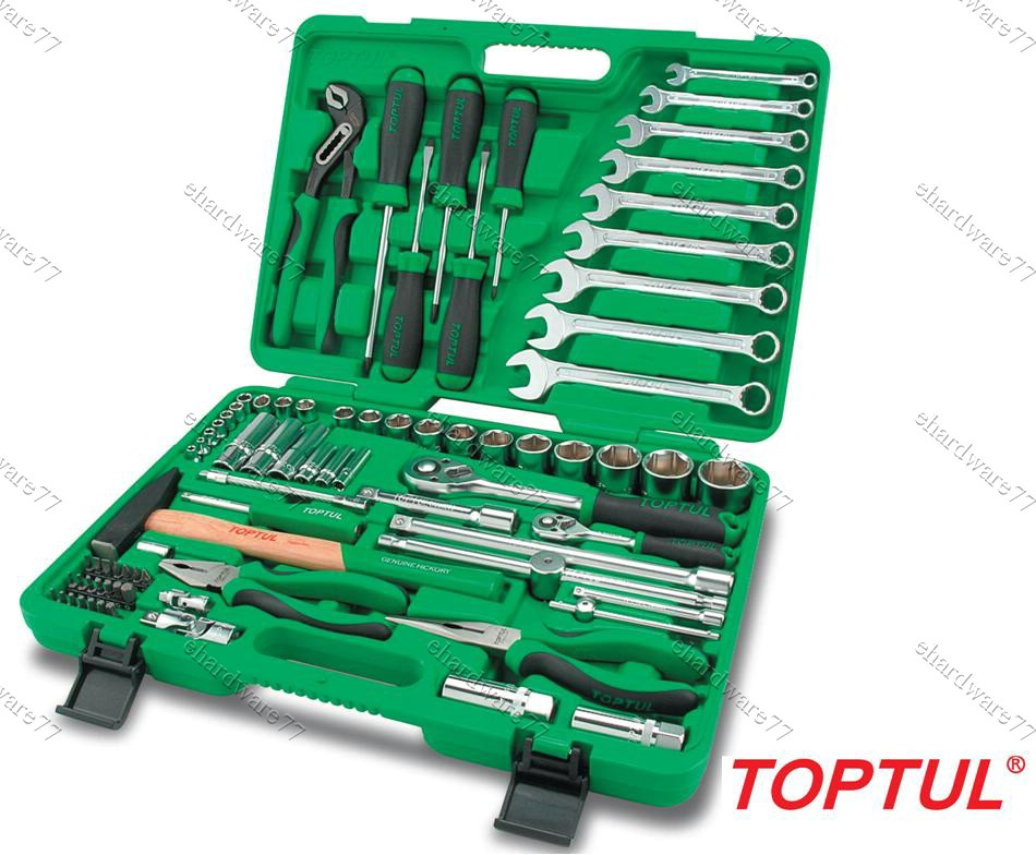 TOPTUL 80Pcs 1/4 & 1/2 DR SOCKET TOOLS SET (GCAI8002)