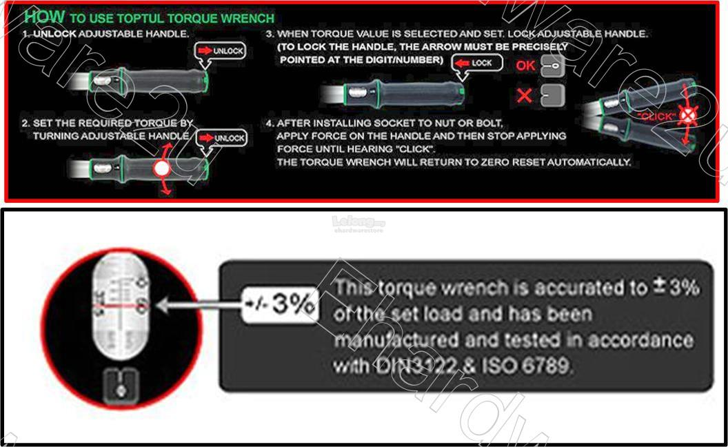 TOPTUL EASY READ WINDOW SCALE MICROMETER TORQUE WRENCH (ANAM)
