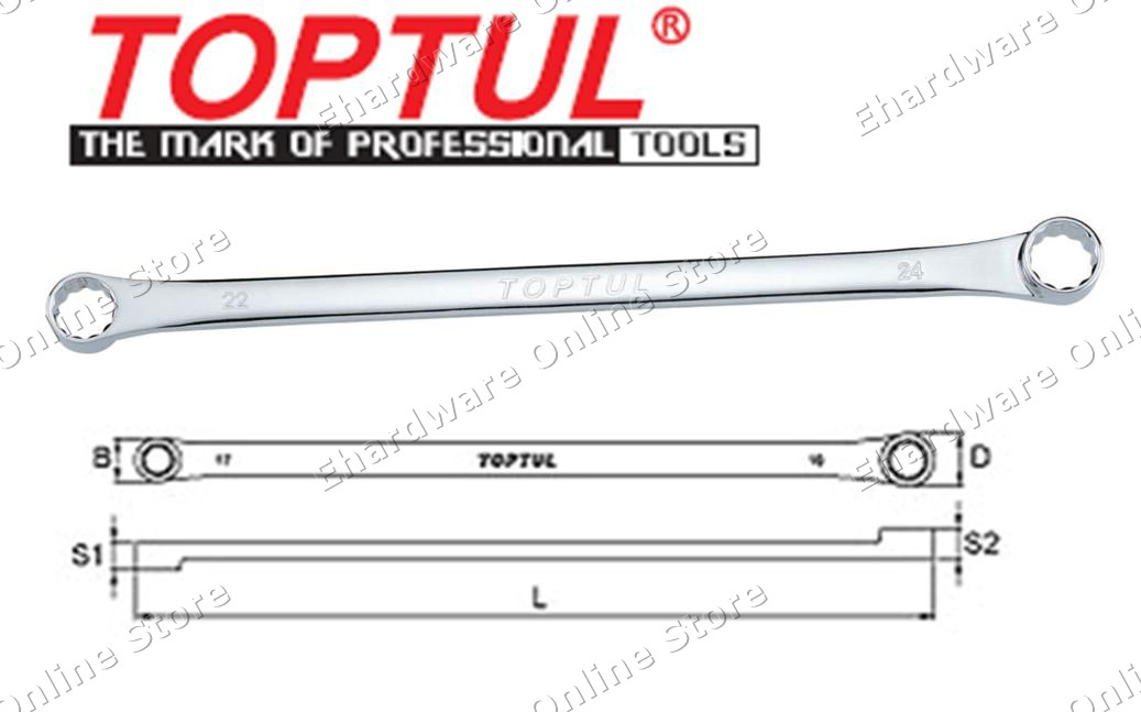 TOPTUL Extra-Long Double Ring Flat Wrench (AAAP) (Open Stock)