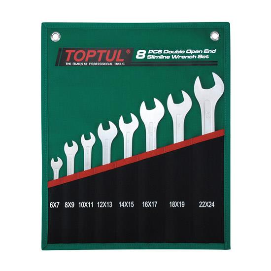 TOPTUL GRAJ0801  8PCS Double Open End Slimline Wrench Set – POUCH BAG