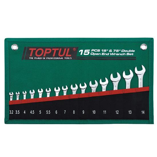 TOPTUL GRAJ1501 15PCS 15° & 75° Double Open End Wrench Set – POUCH BAG