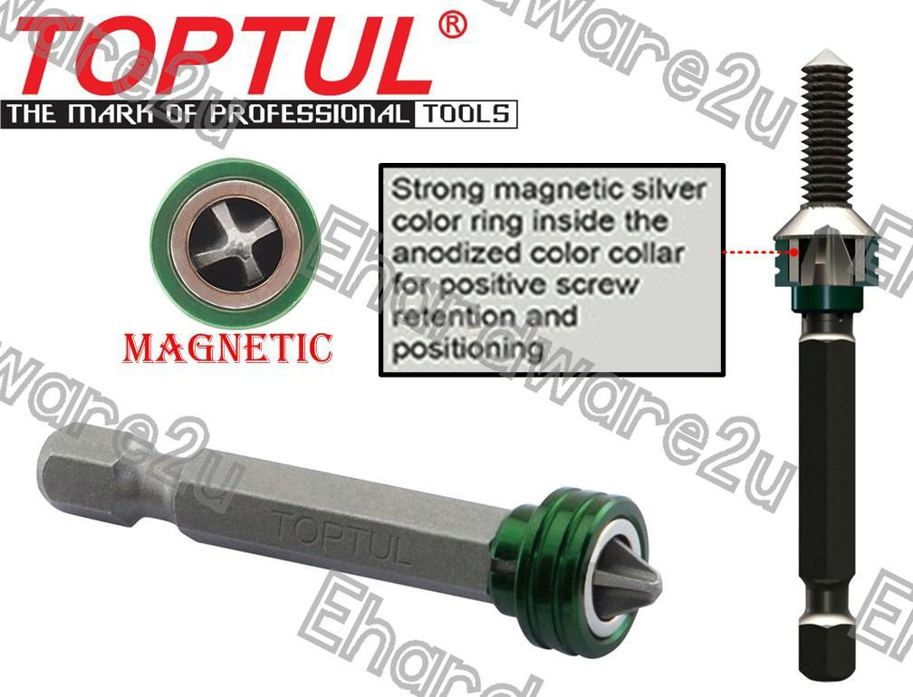 TOPTUL HEX 1/4'DR QUICK CHANGE MAGNET POWER BITS PH2X50MM (FQBB0802)