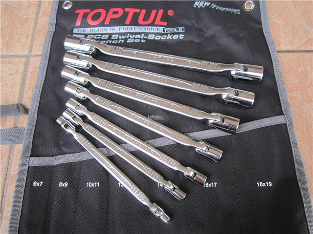Toptul Professional 7pcs Double End Swivel Socket Wrench Set - Pouch